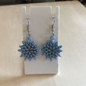 Blue Beaded Superduo Snowflake Silver Earring